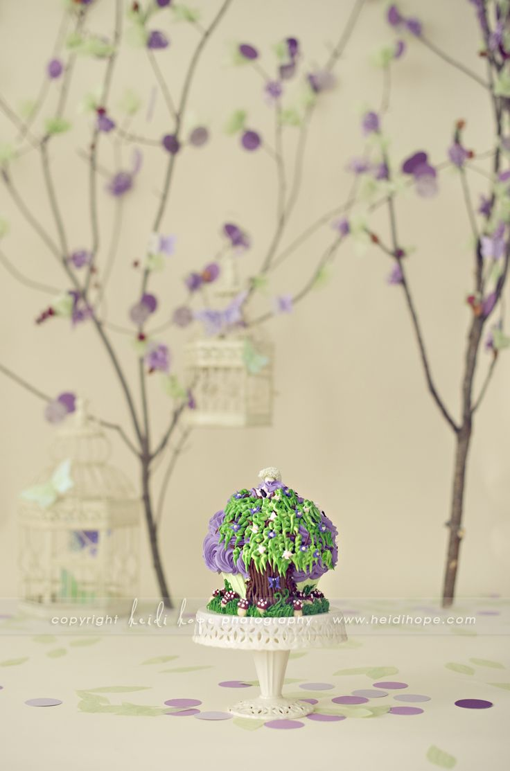 Not the cake but could do the tree backdrop in pink instead of purple