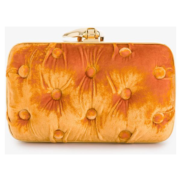 Benedetta Bruzziches Orange Carmen Velvet Clutch Bag With Hand... ($775) ❤ liked on Polyvore featuring bags, handbags, clutches, orange clutches, embellished purse, velvet purse, benedetta bruzziches and embellished handbags