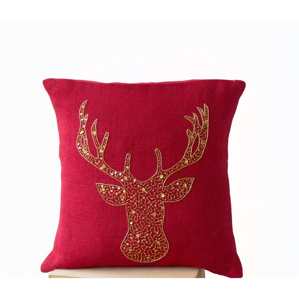 Deer Pillow Covers Animal Pillow Stag Embroidered in Gold Sequin... (1,660 INR) via Polyvore featuring home, home decor, throw pillows, brown, decorative pillows, home & living, home décor, red home accessories, animal throw pillows and rustic throw pillows