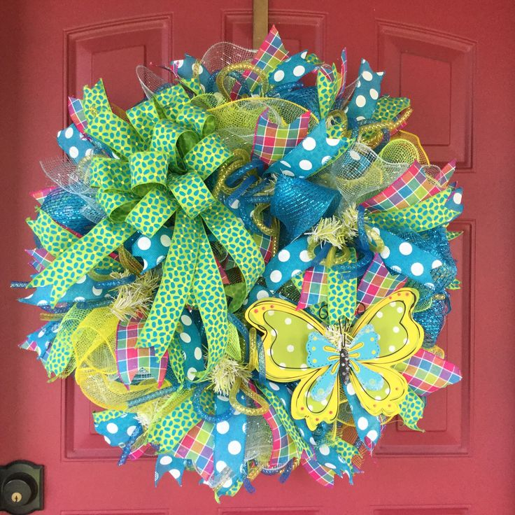 Butterfly Wreath, Deco Mesh Wreath, Summer Wreath, Spring Summer Wreath, Nursery Wreath
