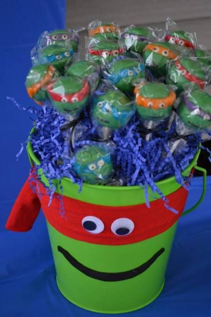 Cute cake pops at a Teenage Mutant Ninja Turtles Birthday Party!  See more party ideas at CatchMyParty.com!