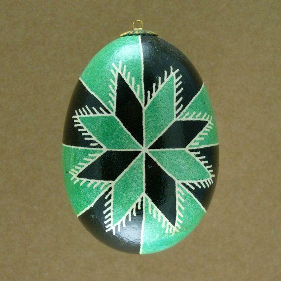 Pysanky Ukrainian Easter Egg Green Bicolor Star by JustEggsquisite, $20.00