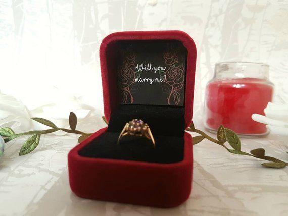Luxury Wedding Ring Box Red Velvet Engagement Ring Box Proposal Box Enchanted Rose Wine Red Velvet Ring Box Vintage Heirloom Style Proposal Ring Box Engagement Ring Box Proposals Engagement Ring Box