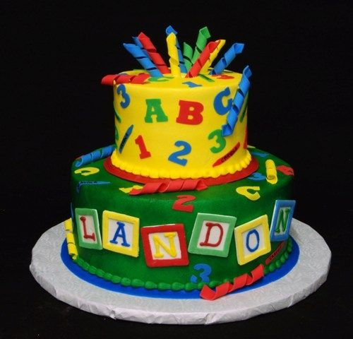 23 best abc cakes images on pinterest for Alphabet blocks cake decoration
