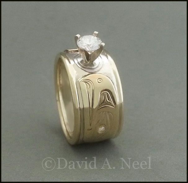 Eagle ring in silver, gold and diamonds.   #northwestcoastindianart #americanindianart #firstnationsart #davidneel