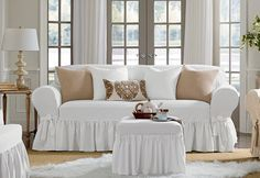 I would like these in both sofa and love seat size, color-white. Sure Fit Slipcovers Essential Twill One Piece Slipcovers - Sofa
