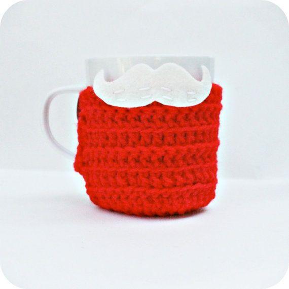 Santa Mustache Mug Cozy Coffee Cozy red white crochet Christmas Cozy cover stocking on Etsy, $13.00