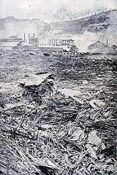 Johnstown Flood - Occurred on May 31, 1889 as a result of the catastrophic failure of the South Fork Dam situated 14 miles upstream of Johnstown, Pennsylvania and killed more than 2,200 people.   It was the first major disaster relief effort handled by the new American Red Cross, led by Clara Barton. Support for victims came from all over the United States and 18 foreign countries.