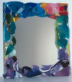 Fused Glass Mirror, fuse on clear glass and then spray mirror spray on center? I think that will work