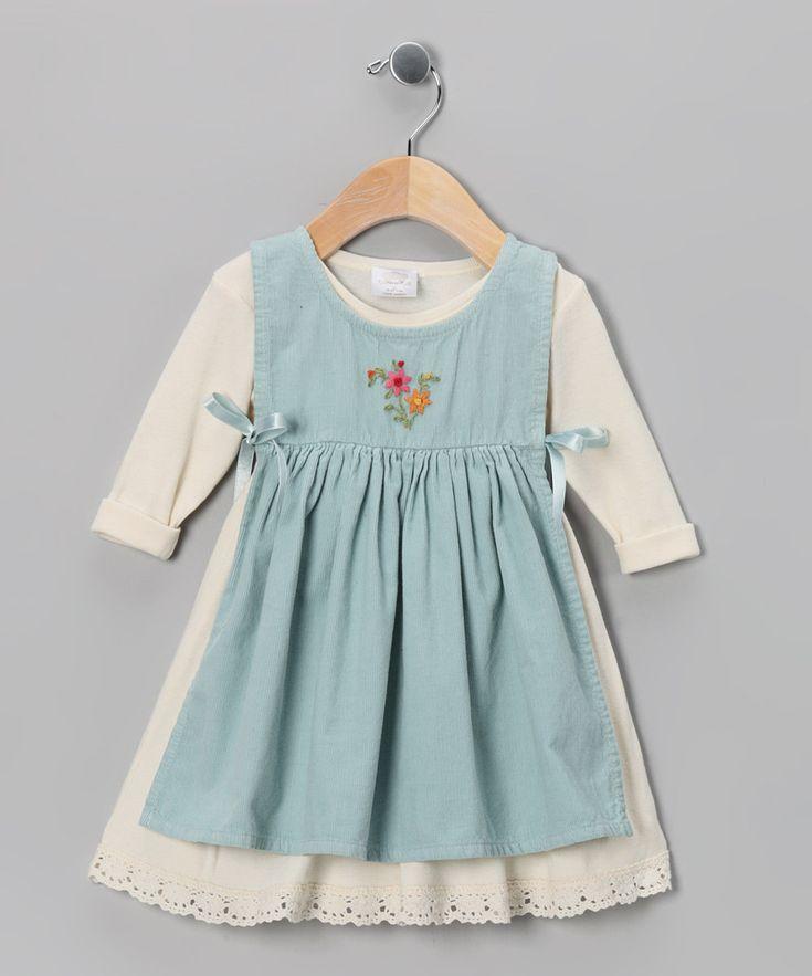 Ecru & Aqua Apron Dress - Infant, Toddler & Girls