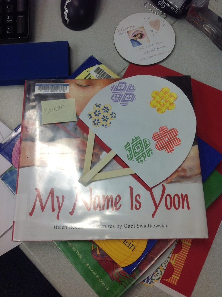 Asian Pacific heritage month. Story time with book My Name is Yoon, and fan craft for Korean fan dancing.