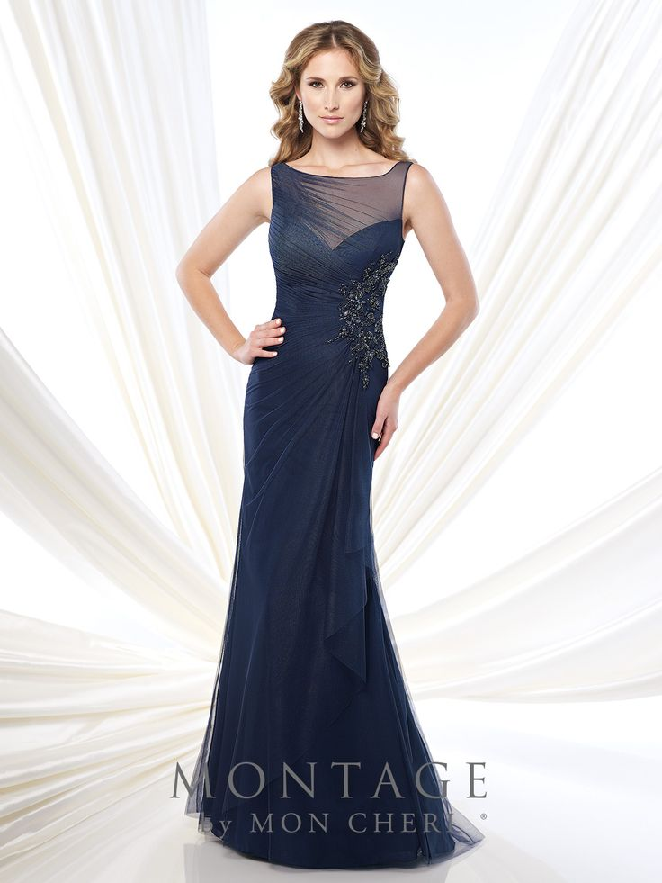 Sleeveless tulle and chiffon slim A-line gown with sdde gathered illusion bateau neckline, side draped sweetheart bodice with hand-beaded lace appliqué, V-back, side draped skirt with ruffle, sweep train. Matching shawl included.Sizes: 4 - 20