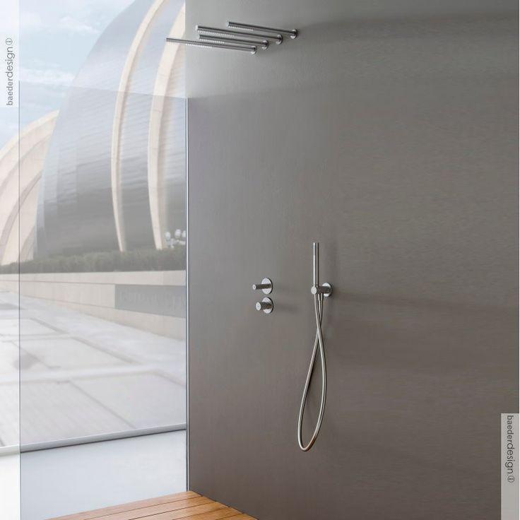 Unterputz-Duschenmischer 22mm | Einhand-Bedienung | Edelstahl gebürstet | Ambiente mit Kopfbrause 22mm und Handbrauseset
