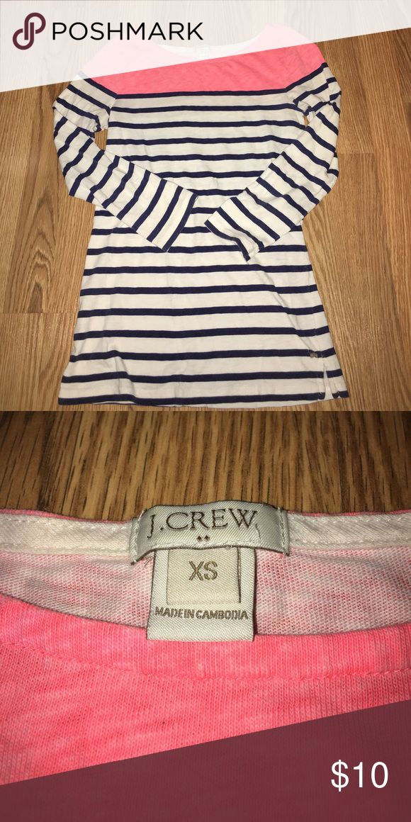 J.Crew women's 3/4 tee Navy blue and white stripes with pink top, cotton J. Crew Tops Tees - Long Sleeve
