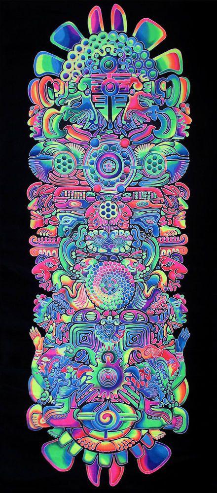 XXL UV Backdrop Totem Psy Wandbehang 4m x 1,8m Hippie Goa Tuch Kunst Wandtuch