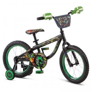 This 16-inch Bike features vivid graphics of the Turtles, a 3-D Turtles number plate, and a vinyl turtle shell-printed seat.