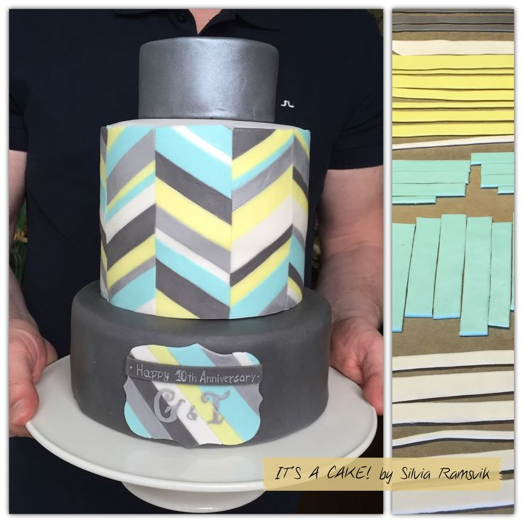 Wedding anniversary cake. The techinique is from the fantastic designer Jessica Harris, and the execution is mine. My first attempt to make her stripes, not too bad, or what?