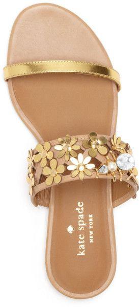 Kate Spade Flat Slide Sandals - Bloom in Gold (Natural)