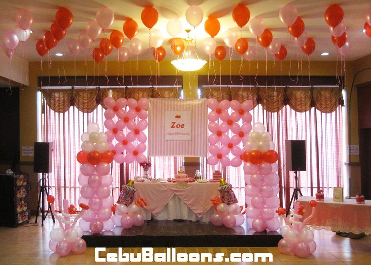 Christening celebration ideas hannah 39 s party place for Balloon decoration ideas for christening