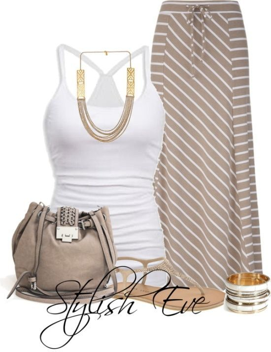 Always love a look like this, dainty detail accessories, & calm colors, nice razor back shirt