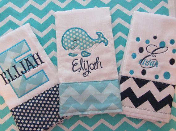 Set of 3 Personalized Burp Cloths - Diaper Cloths - Baby Boy - Monogrammed - Gift Set - Chevron- Polka Dot- Whale on Etsy, $32.00