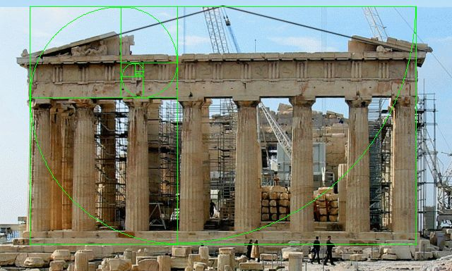 The Parthenon showing a Golden Spiral overlay illustrating Phi or Golden Ratio proportions