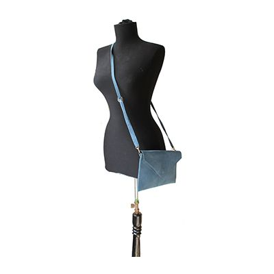 Lucia Italian Blue Leather Envelope Clutch Bag - £24.99
