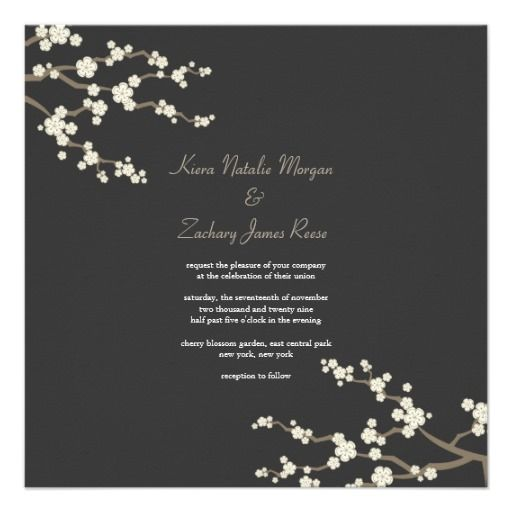 White Cream Sakura Cherry Blossoms Wedding Invite