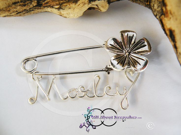 "Wire Name Broach Pin ""Marley"" allaboutkeepsakes.com"