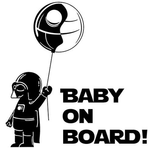 """BABY ON BOARD"" Star Wars Darth Vader Vinyl Car Decal Sticker---someday in a…"