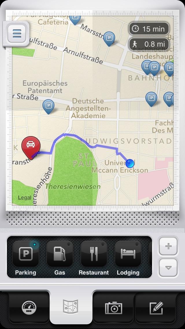 Parkbud Places opened - Parkbud iPhone App Design & UI