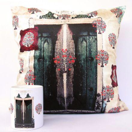 Alice in Mughal Land Cushion and Coffee Mug #Launchpad #PerInchDesignStudio