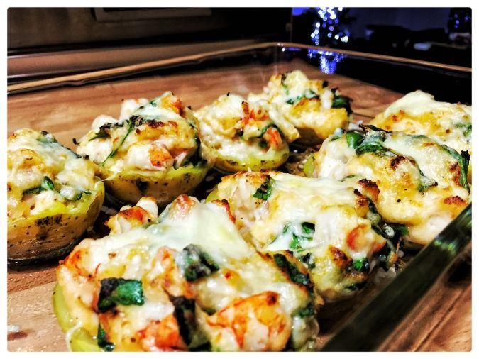 Patatas rellenas de espinaca y gamba - Axel, el chef en casa