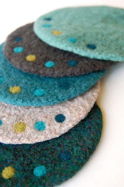 needle felting ideas - Dot Coasters by ADKnits, via Flickr