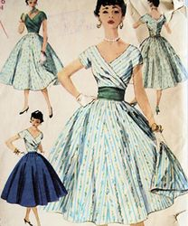 "50's petticoat and full skirt, perfect evening wear often styled with matching #gloves ->""1950s dresses 