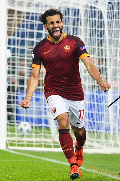 Roma player Mohamed Salah celebrates the goal during the UEFA Champions League Group E match between AS Roma and Bayer 04 Leverkusen at on Olimpico...