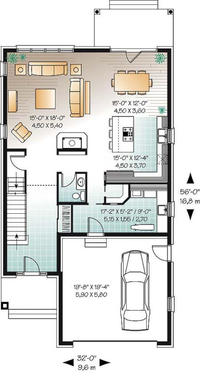 W3859 cottage européen 4 chambres pour terrain étroit avec foyer garage plan maison4
