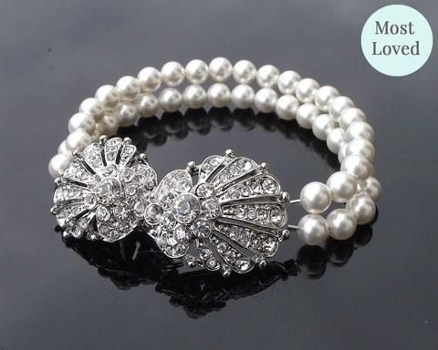 Oyster Clasp Pearl Vintage Style Rhinestone Bracelet, Oyster