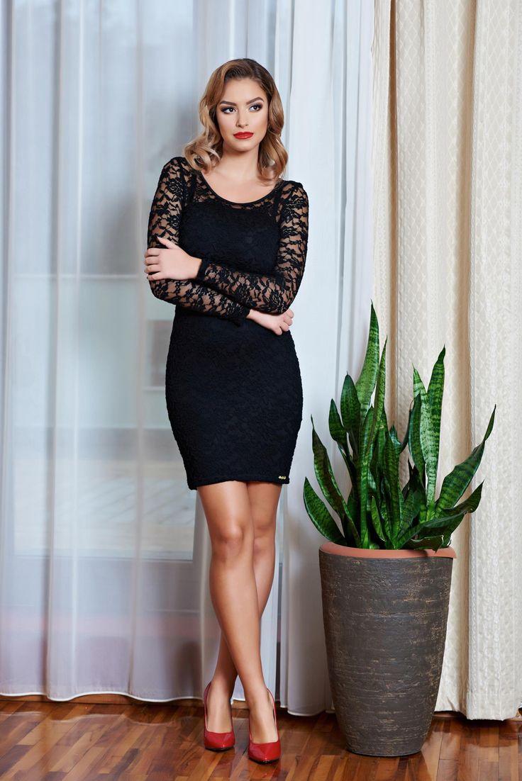 Rochie MissQ Sensual Beauty Black. Rochie MissQ scurta, din dantela, cu maneci lungi, usor transparenta.  Lungime: 70 cm de la axila pana jos.