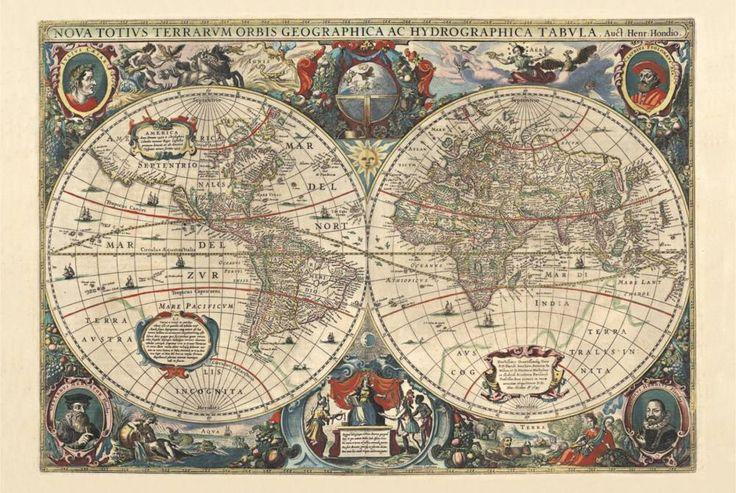 старинная карта мира из архива Национальной Библиотеки Норвегии