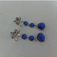 Deep blue earrings.