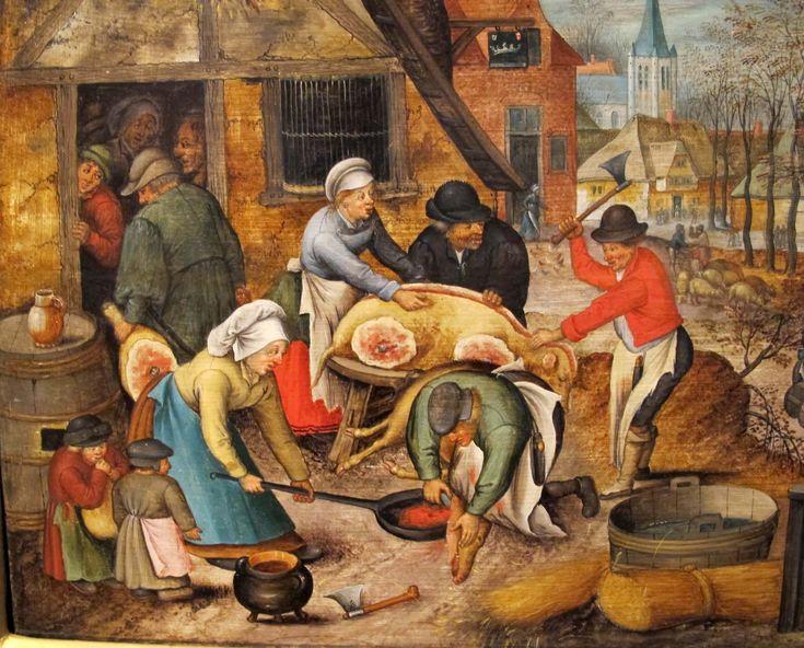 Peasants slaughtering a pig, by Flemish artist Pieter Brueghel, after 1616