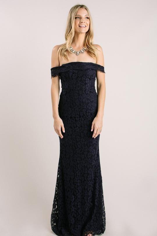 9bf4f253bc Delilah Navy Off the Shoulder Lace Maxi Dress Dresses Just Me