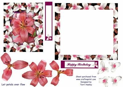 Happy Birthday in a decopage design, let the flowers over flow for a soft efect