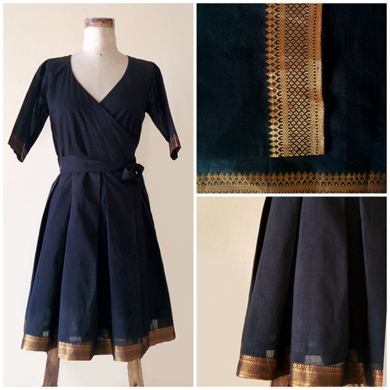 For the real black magic woman! Black Handloom Cotton Pleated Wrap Dress with a by MograDesigns