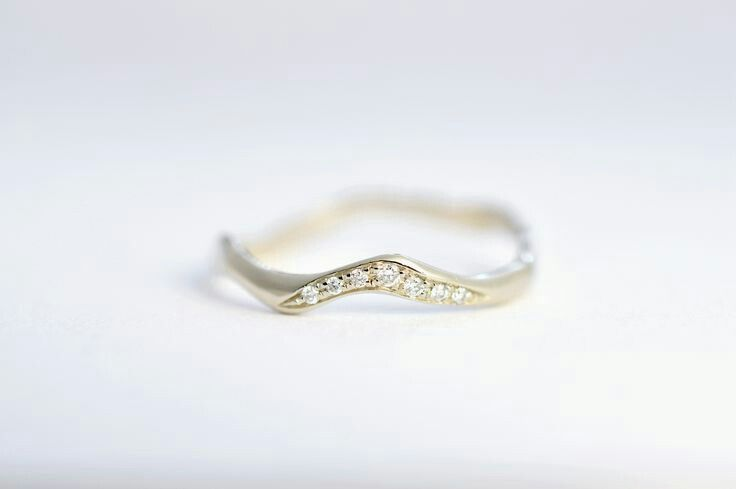 Simple Diamond Band  Wedding band or engagement ring  White gold 14k