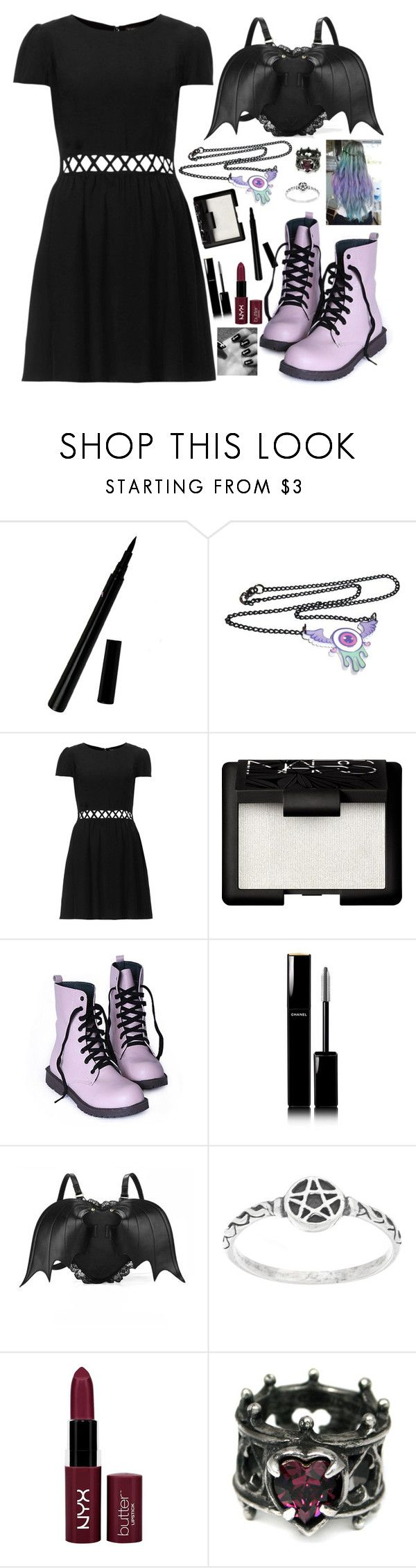"""""""Pastel Goth <3"""" by crazydirectionergirl ❤ liked on Polyvore featuring Topshop, NARS Cosmetics, Chanel, NYX and Leg Avenue"""