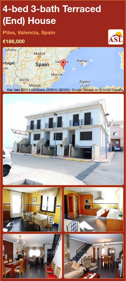 4-bed 3-bath Terraced (End) House in Piles, Valencia, Spain ►€186,000 #PropertyForSaleInSpain