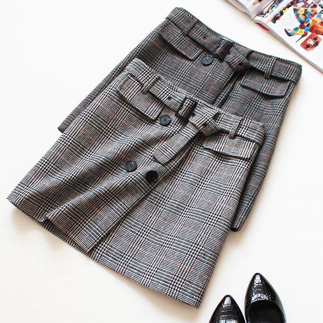 2017 новые короткие плед высокая талия юбки женщина серый мода стильный толстые мини-юбки с поясами бесплатная доставка
