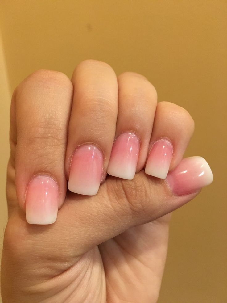 These Are Pink And White Ombr 233 Nails White Tip With White And Pink Blended Powder ️ Dip Nail